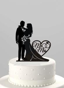 cake topper, black, wedding cake